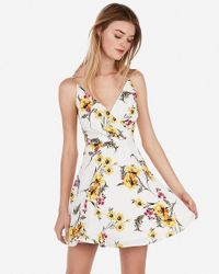 Express Floral Surplice Fit And Flare Cami Dress Pink Print