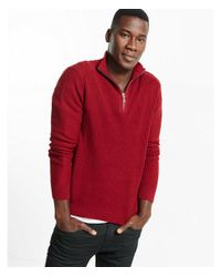 Express Red Ribbed Zip Cotton Mock Neck Moto Sweater for men
