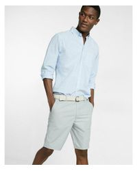 Express - Gray Classic Fit 10 Inch Flat Front Belted Shorts for Men - Lyst