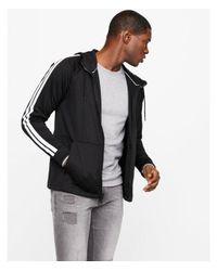 Express Black Striped Sleeve Full Zip Hoodie for men