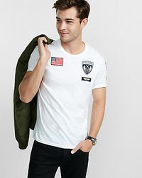 Express Green Military Patch Embellished T-shirt for men