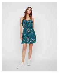Express Green Floral Ruffle Front Tie Waist Dress