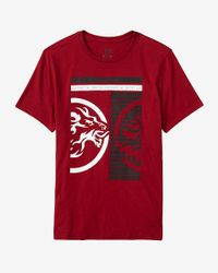 Express Red Inverse Lion Graphic T-shirt for men