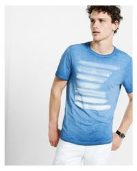 Express Blue Watercolor Bars Graphic T-shirt for men