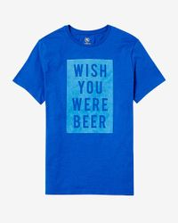 Express Blue Wish You Were Beer Graphic T-shirt for men