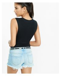 Express - Black One Eleven Sleeveless Bodysuit - Lyst