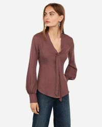 Express Button Front Tie Neck Top Brown