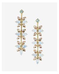 Express - Pink Linear Floral Stone Drop Earrings - Lyst