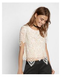 Express White All Over Lace Tee