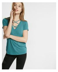 Express Blue Strappy Front V-neck Skimming Tee