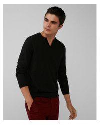 Express - Black Notch Neck Cotton Sweater for Men - Lyst