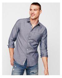 Express Blue Slim Soft Wash Dobby Shirt for men