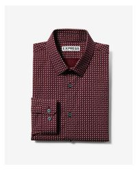 Express - Red Extra Slim Patterned Long Sleeve Dress Shirt for Men - Lyst