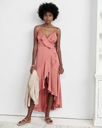 Express Pink Satin Ruffle Wrap Midi Dress Rose