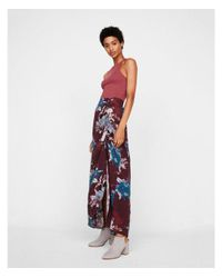 Express Red Floral Ruched Side Maxi Skirt