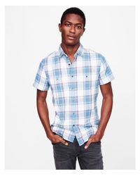 Express - Blue Soft Wash Plaid Short Sleeve Double Weave Shirt for Men - Lyst