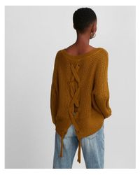 Express Green Lace-up Split Back Sweater