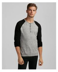 Express Black Color Block Raglan Henley Sweater for men