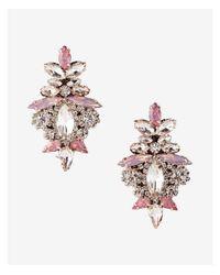 Express - Pink Ornate Stone Earrings - Lyst