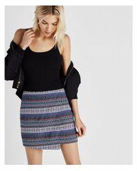 Express Black Asymmetrical Jacquard Wrap Front Mini Skirt
