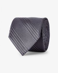 Express | Gray Narrow Textured Diagonal Stripe Silk Tie for Men | Lyst