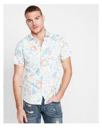 Express Blue Ig & Tall Slim Floral Cotton Short Sleeve Shirt for men