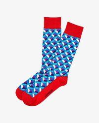 Express Purple Geo Print Socks for men