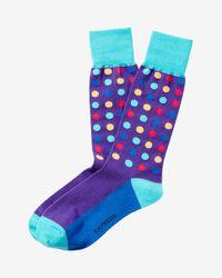 Express - Blue Bright Multicolor Dot Dress Socks for Men - Lyst