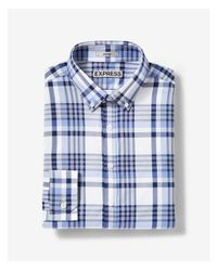 Express | Blue Fitted Plaid Performance Dress Shirt for Men | Lyst