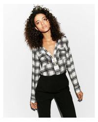 Express Black Two Pocket Zip Front Long Sleeve Shirt