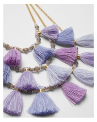 Express - Purple Three Row Beaded Tassel Necklace - Lyst
