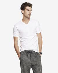 Express | White Tall Flex Stretch Cotton V-neck Tee for Men | Lyst