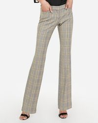 Express - Low Rise Plaid Barely Boot Editor Pant Yellow - Lyst