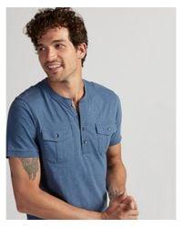 Express Blue Military Short Sleeve Henley for men
