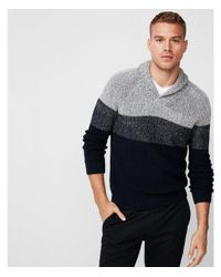 Express - Blue Color Block Shawl Collar Popover Sweater for Men - Lyst
