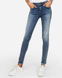 Express Blue High Waisted Denim Perfect Skinny Jeans
