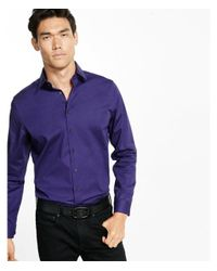 Express Purple Modern Fit Easy Care 1mx Shirt for men