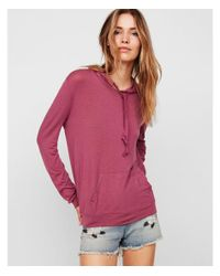 Express Pink One Eleven Drawstring Pullover Hooded Sweatshirt