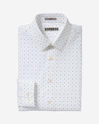 Express | Blue Fitted Open Dot Print Dress Shirt for Men | Lyst