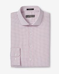 Express - Red Modern Fit Micro Print Dress Shirt for Men - Lyst