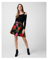 Express - Black High Waisted Floral Ruched Waist Full Skirt - Lyst