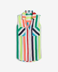 Express Blue Love Unites Pride Slim Fit Rainbow Striped Sleeveless Portofino Shirt Multi Stripe Unisex S