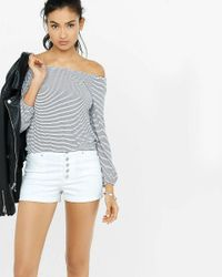 Express Gray Striped Blouson One Eleven Tee
