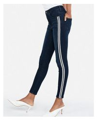 Express - Blue High Waisted Side Stripe Denim Perfect Ankle Leggings - Lyst