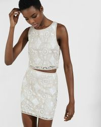 Express | Natural Crocheted Metallic Sequin Embellished Tank | Lyst