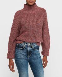 Express Mock Neck Knit Sweater Purple Xxs