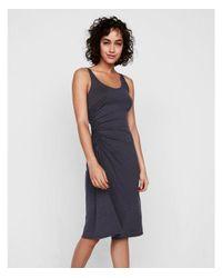 Express Gray Ruched Side Tank Midi Dress
