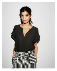 Express Black Notch Neck Button Front Rolled Sleeve Blouse
