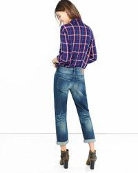 Express - Blue Medium Distressed Faded Boyfriend Jeans - Lyst
