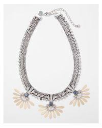 Express - Metallic Rhinestone Trim Statement Necklace - Lyst